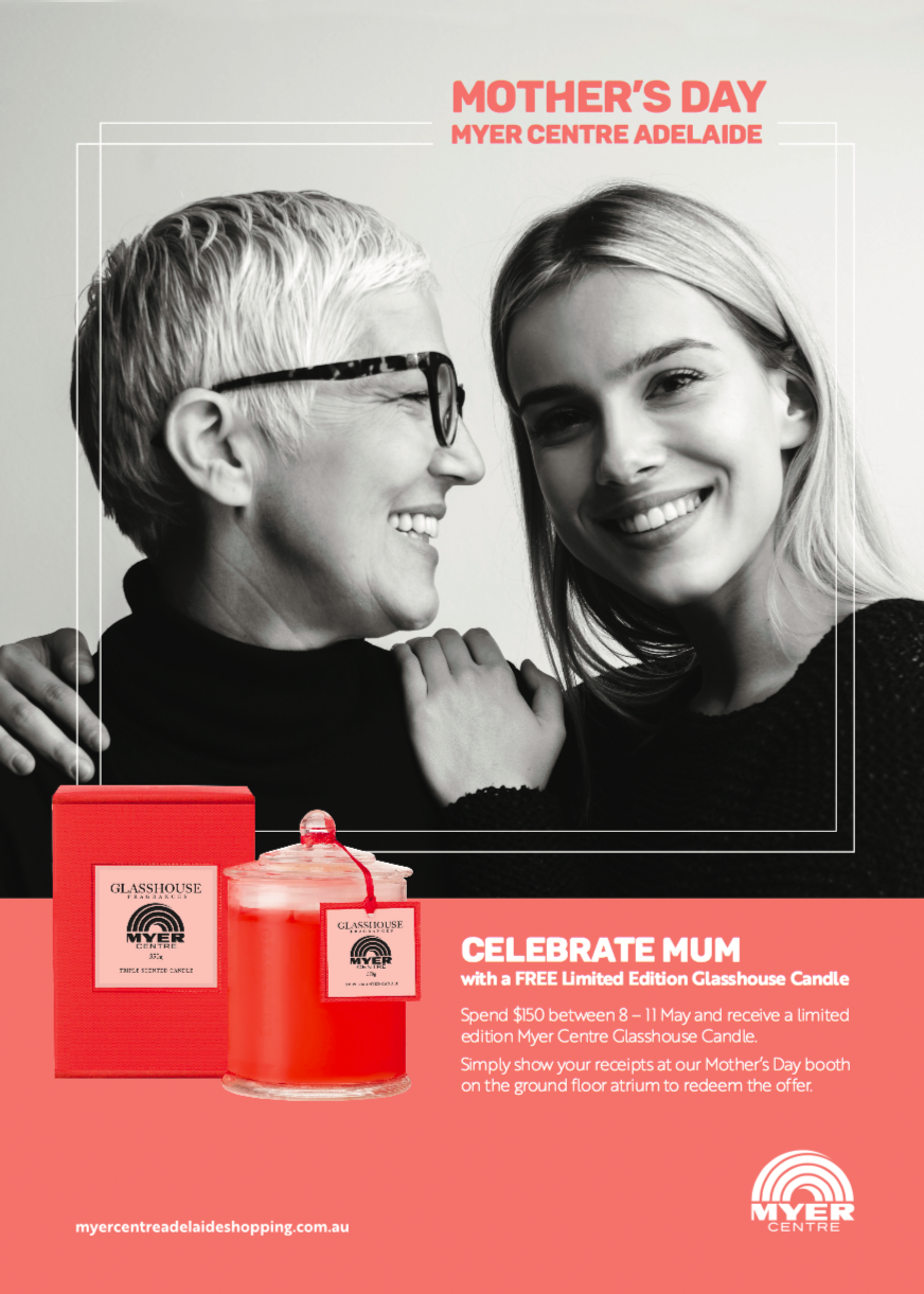 Myer Centre Is Giving Away FREE Glasshouse Candles for Mother's day!