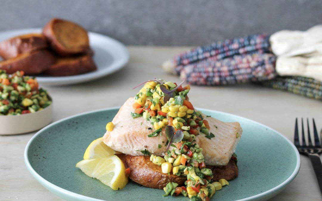 Annabel Cooks: Salmon, Sweet Potato and Spring Salsa