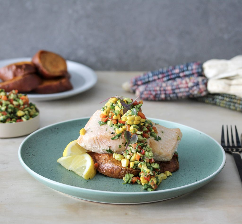 Salmon, Sweet Potato and Spring Salsa