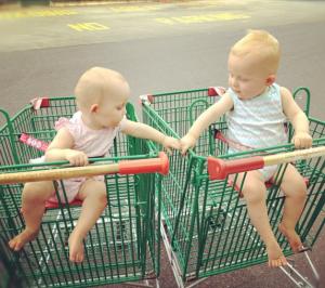 twins in a trolley