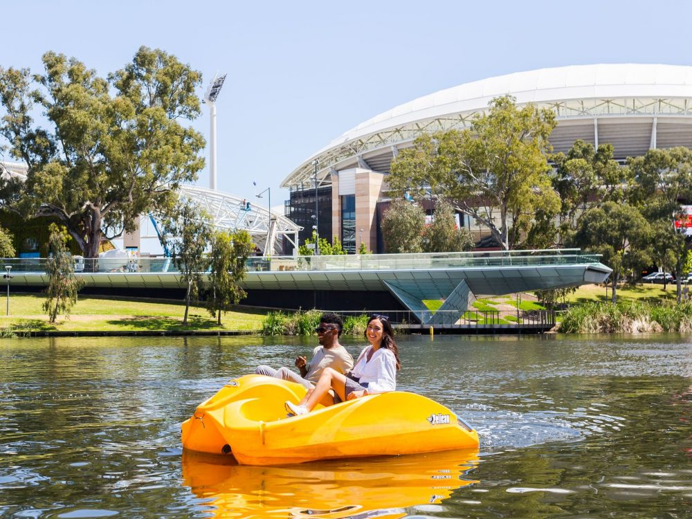 paddle boats on torrens