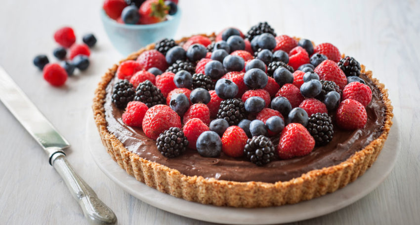 RECIPE: Chocolate Mousse, toasted almond and berry tart