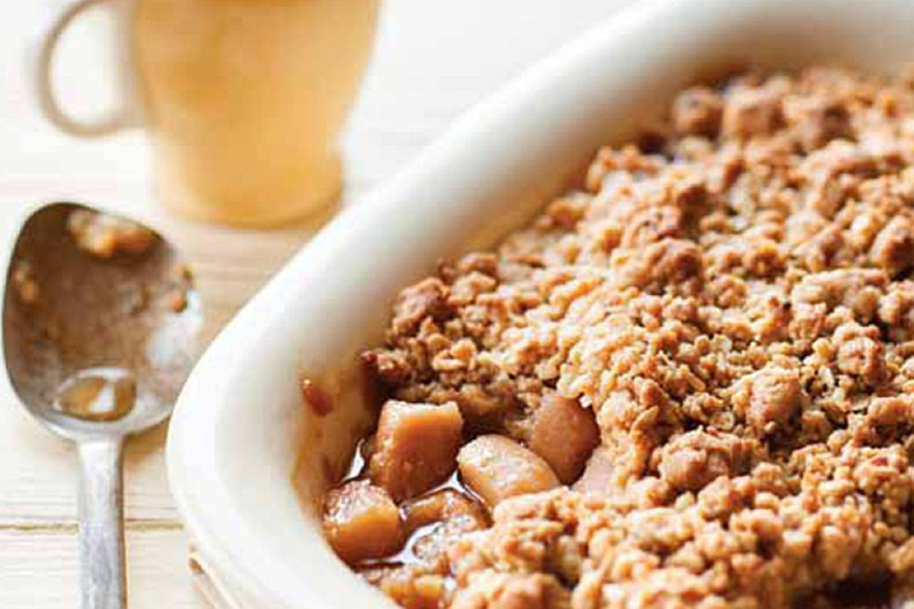 RECIPE: Caramelised pear and ginger crumble
